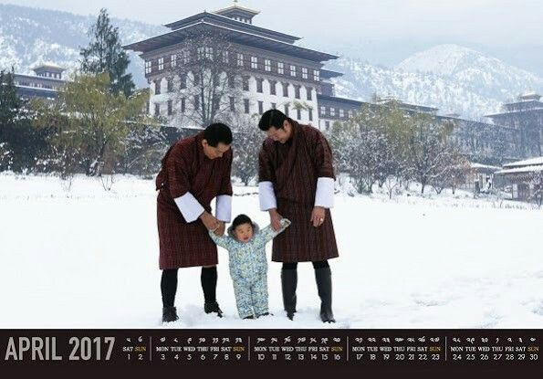 New traditional April calendar, with a photo that taken at a unexpected March snow of King Jigme Namgyal Wangchuck of Bhutan and his young son the Gyalsey was published. In Buddhist tradition the new year begins in April.