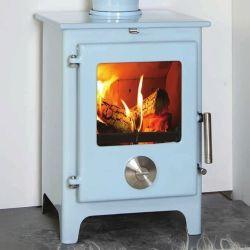 4.8KW Mendip 5 SE Powder Blue Woodburning Stove | Buy Modern Wood Burning Stoves Online | UK Stoves