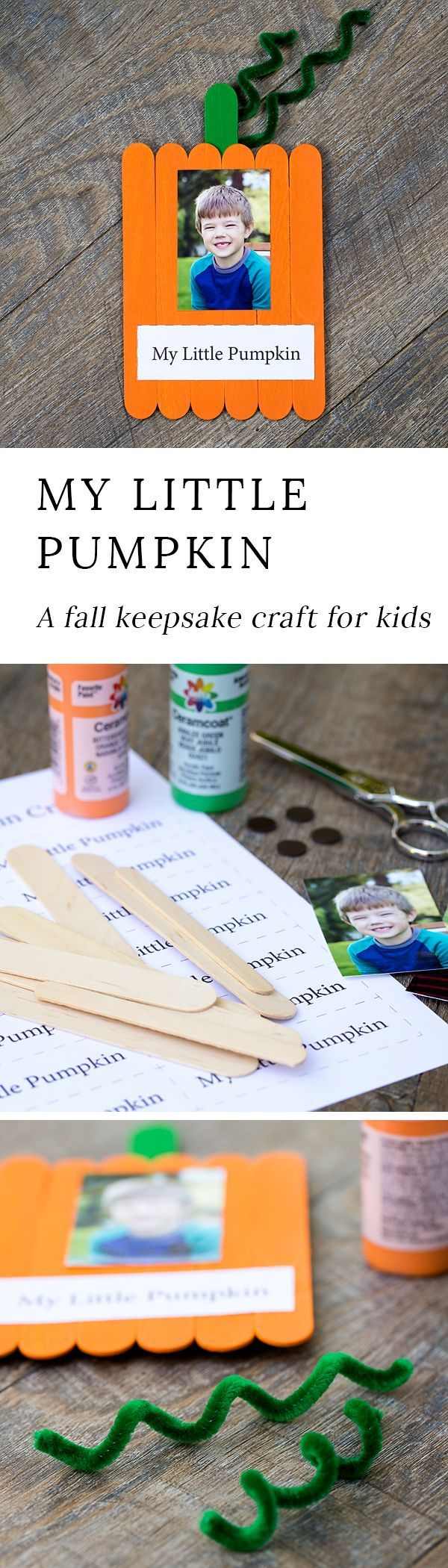 Just in time for fall, learn how to make an adorable My Little Pumpkin Keepsake Craft with craft sticks, paint, and glue. #fallcrafts via @https://www.pinterest.com/fireflymudpie/