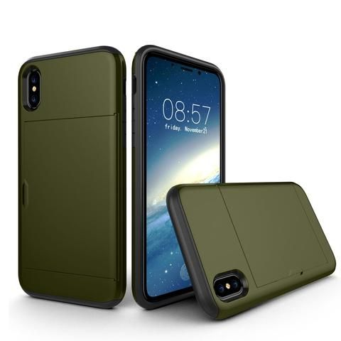 For iPhone X  TPU + PC Dropproof Protective Back Cover Case with Card Slot(Army Green)