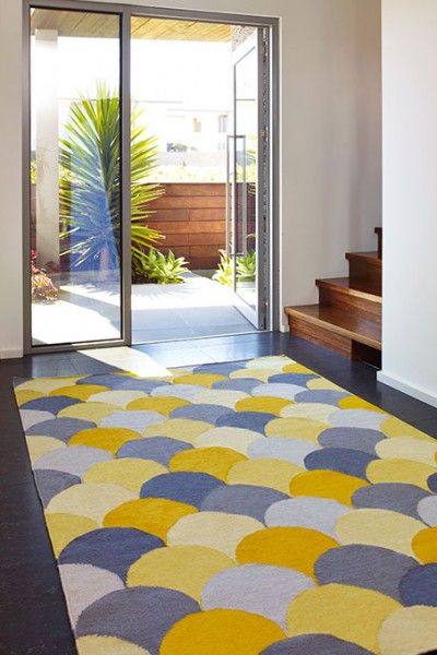 Malibu, Sour - A vibrant yellow, yellow/orange and grey fish scale design flatweave NZ wool rug.  Available to see in store now and available to order in the following sizes:  160 x 230, 200 x 290, 250 x 350