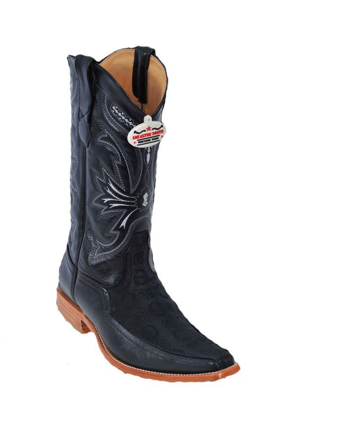 Los Altos Black Fashion Boots w/ Design - Men's Cowboy Boots