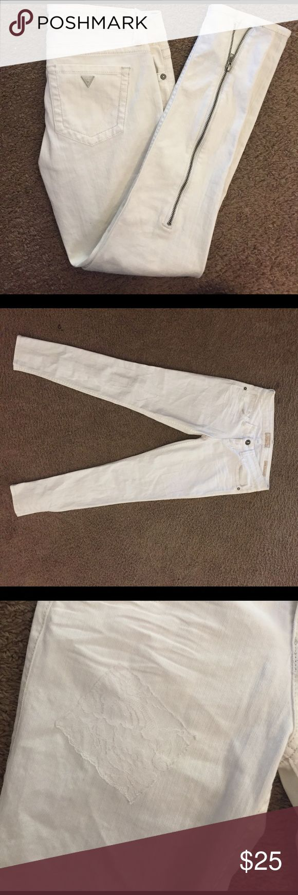 ***SOLD***Guess power ultra skinny white jeans. Euc. Only worn once! Lace patches and zip ankles. Size 26 Guess Jeans Skinny