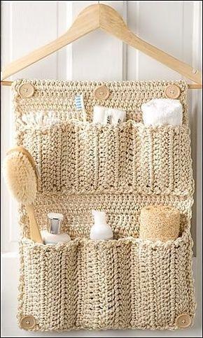 Such an awesome idea! Diy crochet bathroom organizer: http://thriftydiydiva.com/diy-crochet-bathroom-door-organizer/