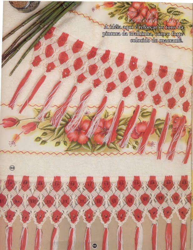 Arte em Macramê e Crochê: TOALHA VERMELHA COM GRÁFICO DE MACRAMÊE