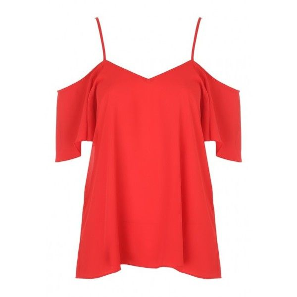 Womens Red Cold Shoulder Cami Top ($16) ❤ liked on Polyvore featuring tops, red tank, red camisole top, red tank top, camisole tops and cami tops