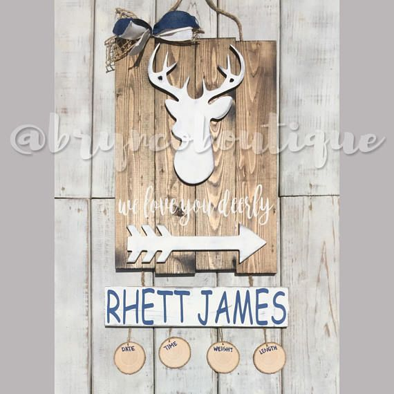 Deer / Hospital Door Hanger / We Love You Deerly / Baby Boy / Birth Announcement / Hospital Wreath