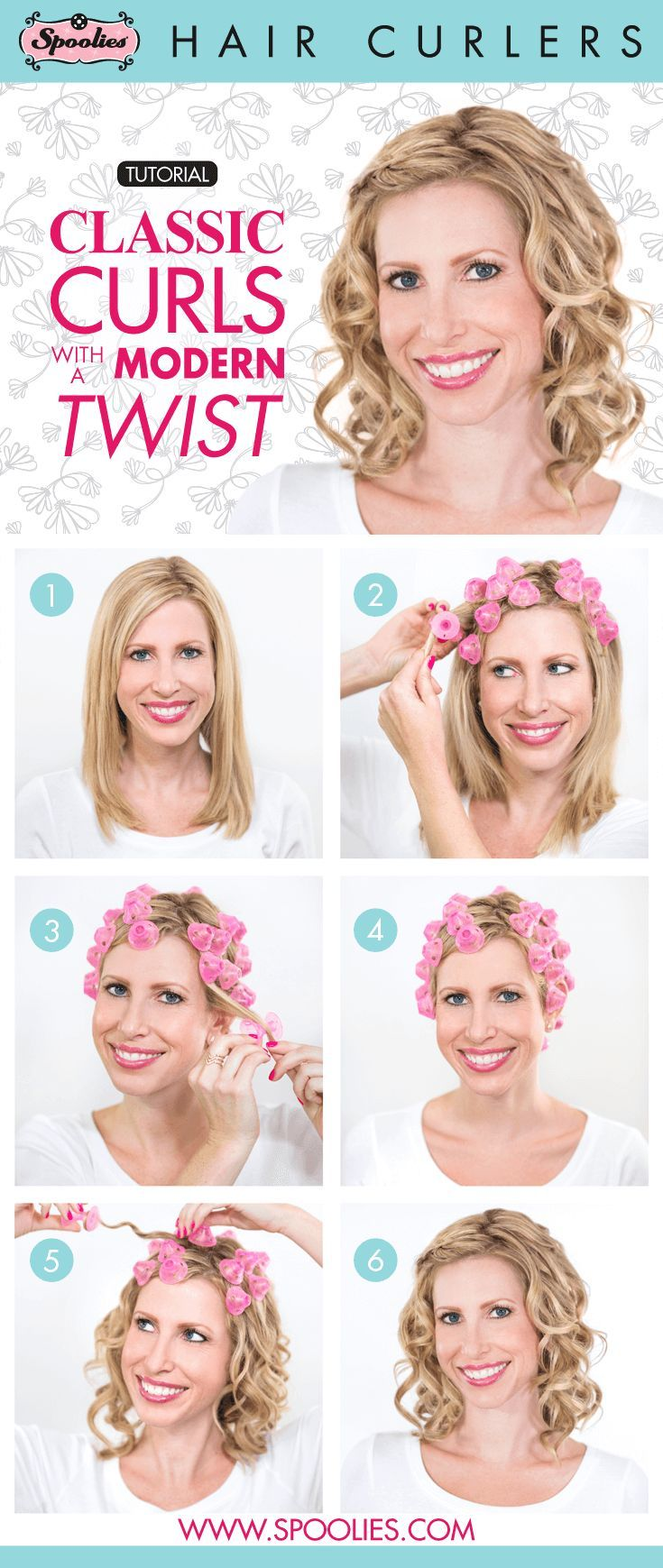 6 steps for Curly hair | Hottest Hairstyles for Women 2016 - use Spoolies Hair curlers for messy beach waves and cute pin curls, this Spoolies tutorial will show you how to get fabulous curls without the heat damage, or annoying pins and clips. www.spoolies.com