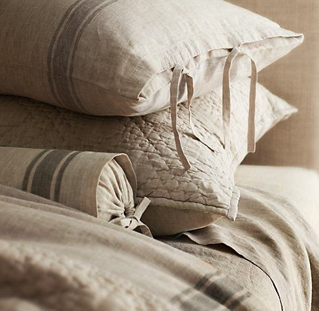 Belgian Linen Provence Stripe Bedding Collection  sale $29.99 - $199 Select Items On Final Sale  navy or fog