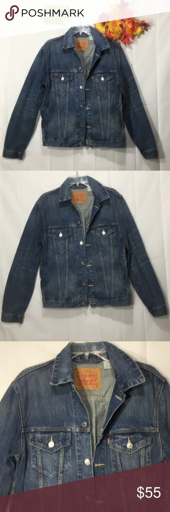 Levi Strauss & Co. Jean Jacket. Size M Levi's Denim Jackets. Size M. I think is men's... I just like the way this fits better. 100% cotton.  Pre owned. In perfect condition. No rips. No spots. Original. Can be worn by Men/Women Levi Strauss &. Co Jackets & Coats Jean Jackets
