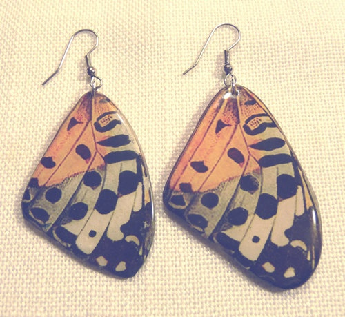 Large Butterfly Wing Earrings / Black , Orange , Grey. $20.00, via Etsy.