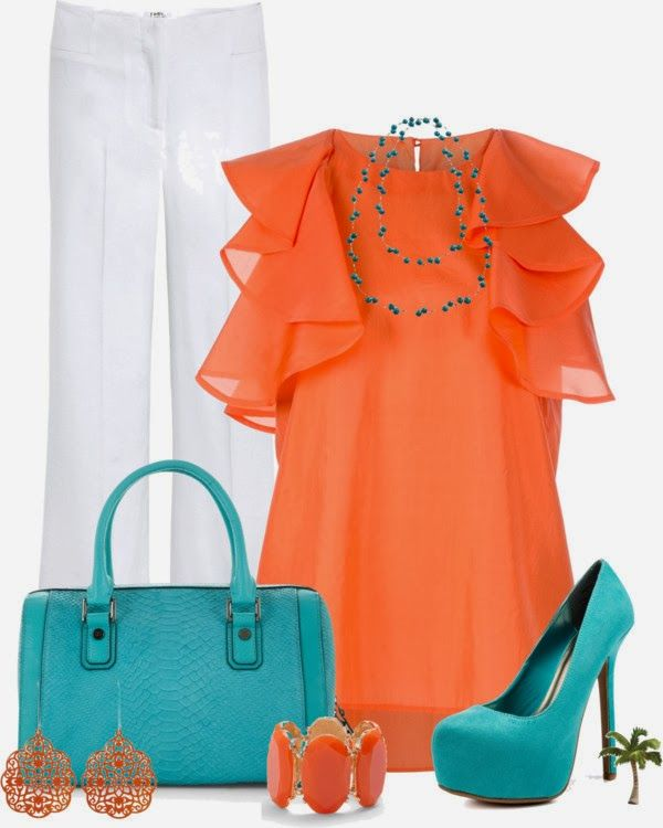 Orange is slowly but surely growing on me, especially when paired with one of my favorite colors: teal! Love the feminine flutter sleeves and the pop of color from the shoes. Not sure I'm brave enough for white pants though...