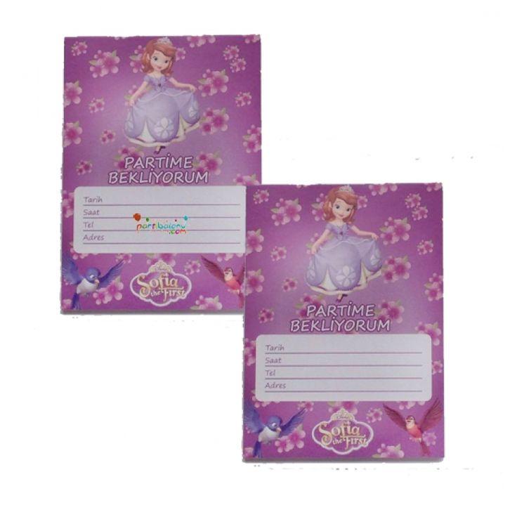 Prenses Sofia Davetiye Sofia Davetiye Ürününün açıklaması  Paket içerisinde 10 Adet Prenses Sofia Davetiye bulunur. Karton Sofia Davetiyeler canlı renkli ve kalitelidir. Prenses Sofia temalı davetiyelerin boyutu 9,5 cm ve 14,5 cm'dir. Sofia davetiyeleri zarfsız gönderilir. Çocuklarınızın doğum günü partilerine arkadaşlarını davet etmek için kullanılan bir üründür.