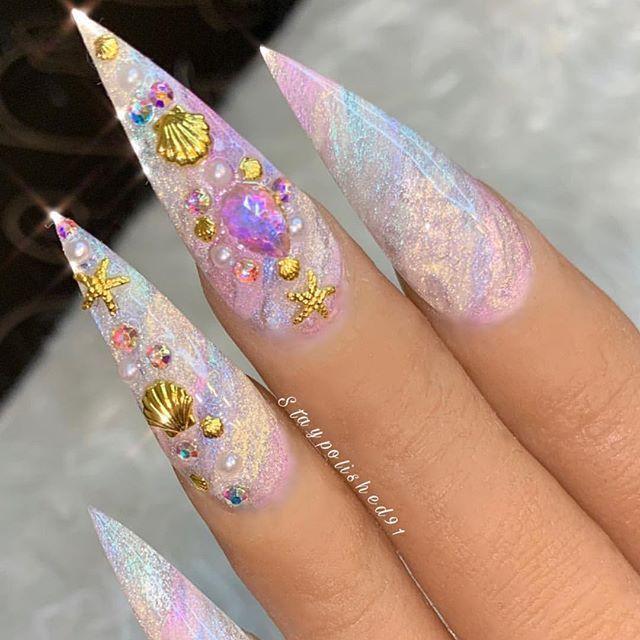 Rainbow Unicorn Ocean Stiletto Nails Camo Nails Stiletto Nails Rainbow Nails