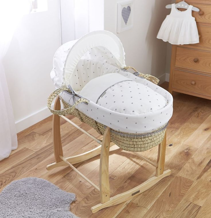 A British Designed And Made Palm Moses Basket, Featuring Stunning  Embroidered Grey Hearts, Removable