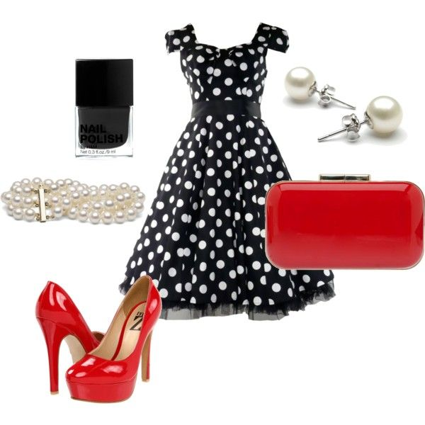 I just bought a polka dot dress..... might have to put my red high heels with it now... LOVE this look!!