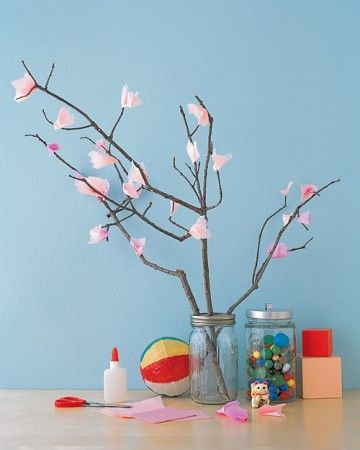Your crafty young gardeners will love this easy floral project. Gather branches that have fallen outside; let dry, if necessary. Cut out 2-inch squares of pink tissue, pinch tightly in the middle to create blooms, and affix them to branches with white glue. Display in a tall container, such as a canning jar with the lid's center removed.