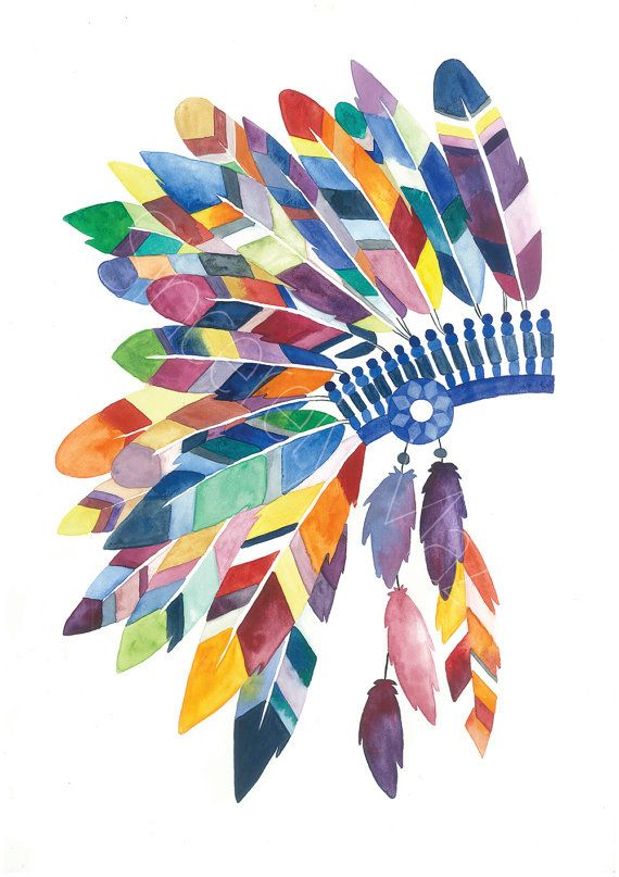 Watercolor Indian Head dress painting print: A4 by SincerelyMaz