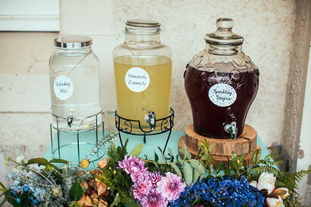 Vintage drink station, wedding. Log disc, flowers