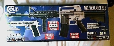 cool Colt M4A1 & 1911 Ops Kit Spring Airsoft Gun + fore grip and light + original box - For Sale