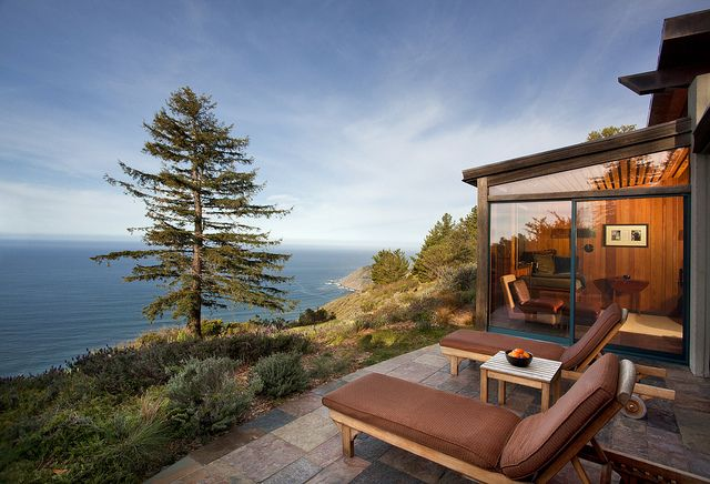 My favorite place!! Stayed in this Ocean House year after year.  The Ultimate Spa Experience. Love, love, love. Big Sur, CA - Post Ranch Inn. Morning yoga, guided nature walks, and stargazing with an astronomer are just a few of the activities offered at this 100-acre resort. Perched atop the bluffs of Big Sur, 30 ocean- and mountain-view suites offer an ideal escape. Guests dine on organic and seasonal cuisine at the award-winning Sierra Mar restaurant, overlooking the Pacific.