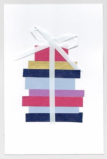 太さの異なるマステでプレゼント包みを表現。シンプルなアイデアながら完成度の高いカードに。