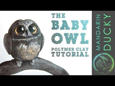 ▶ CUTE BABY OWL TUTORIAL - how to make polymer clay figurine by mymandarinducky - 软陶, ポリマークレイ, Полимерная Глина
