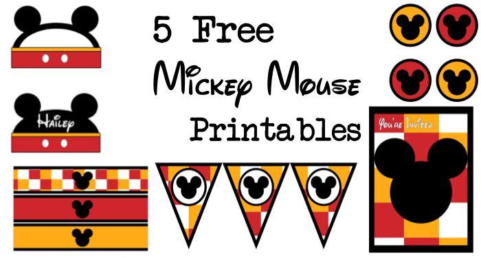 ディズニーテーマパーティー用の5つのミッキーマウス無料印刷物。 無料のバナー、ウォーターボトルラッパー、カップケーキトッパー、招待状、名刺、食品ラベルを印刷します。 また、アイテムをカスタマイズする方法に関するチュートリアルもあります。