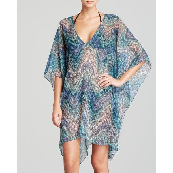 Echo Island Chevron Print Swim Cover Up Caftan ($58) ❤ liked on Polyvore featuring swimwear, cover-ups, ocean, swimsuit swimwear, caftan swim cover up, beach cover up, cover up bathing suit and swim cover up