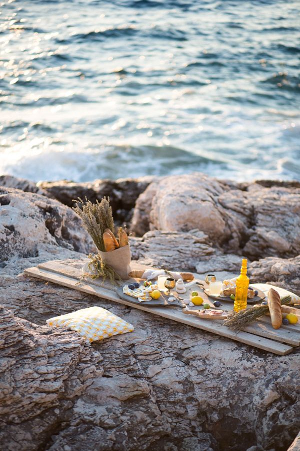 a picnic beside the sea