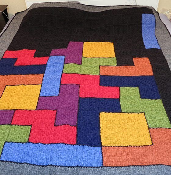 Knit Purl Afghan Patterns : Knitting pattern for Tetris Afghan - #ad This is a great ...
