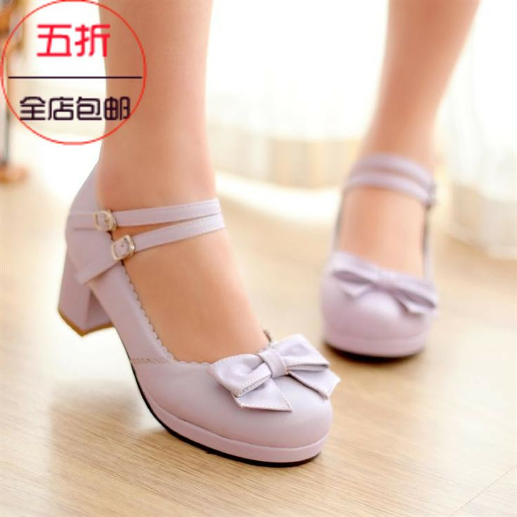 2014 sweet lolita low-heeled shoes bow all-match round toe single shoes £25.84