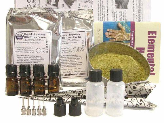 Ultimate Henna Tattoo Starter Kit 200 gm Henna Powder Oil