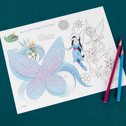 Guide Tinker Bell through the wing maze or color in your favorite fairy's winter outfit.