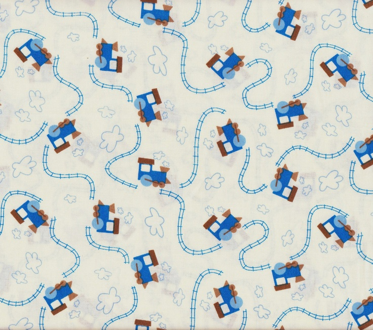 Train And Track Fabric 1 Yard 100% Cotton. $4.95, via Etsy.