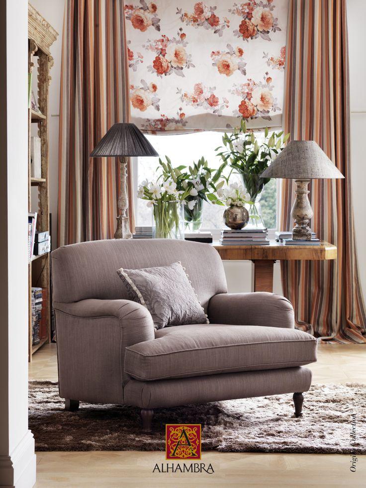cortinas a rayas con flores