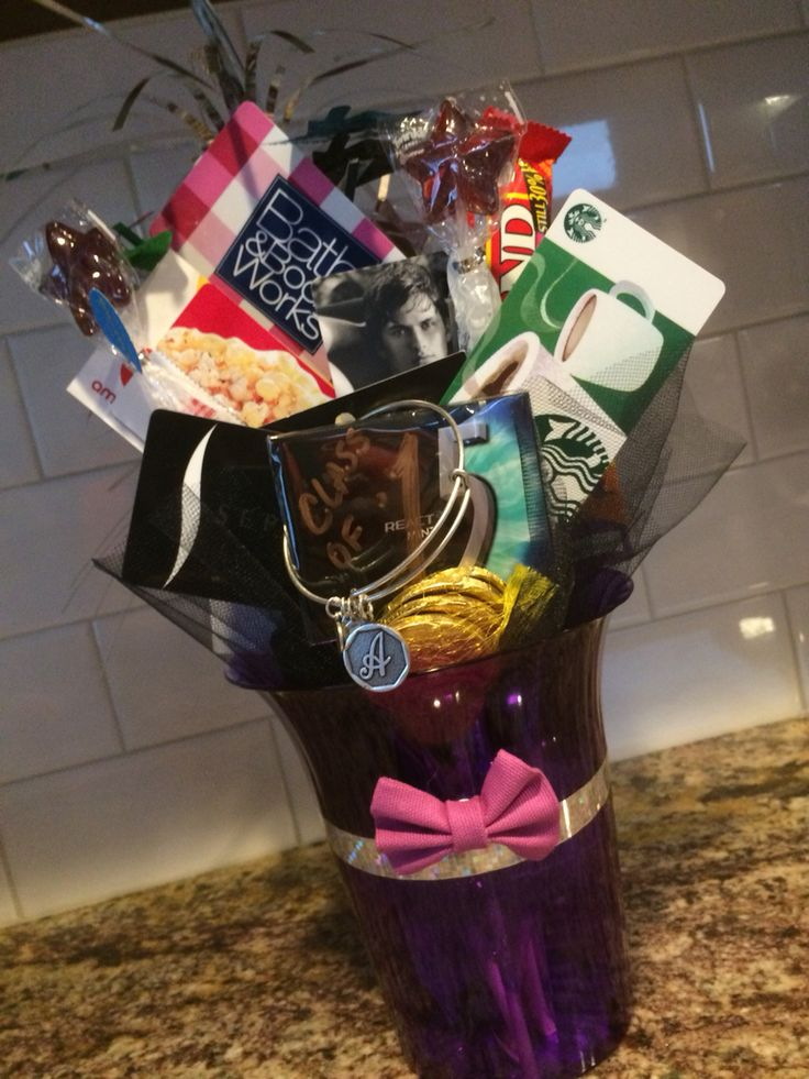 8th grade girl graduation gift card bouquet. Used colors of high school she will be entering.
