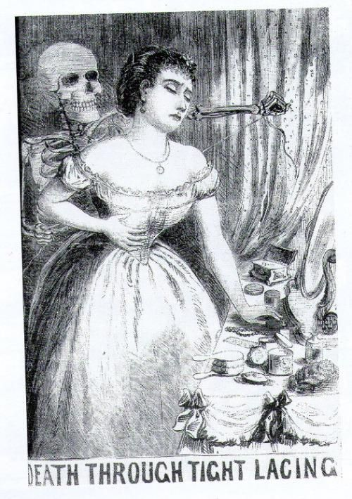 Death through Tightlacing. From The Illustrated Police News, 1870.