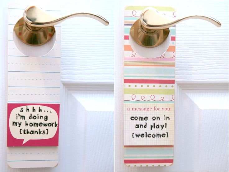 """Love this! Make your own """"doing homework"""" doorknob hangers for the kids with basic supplies 