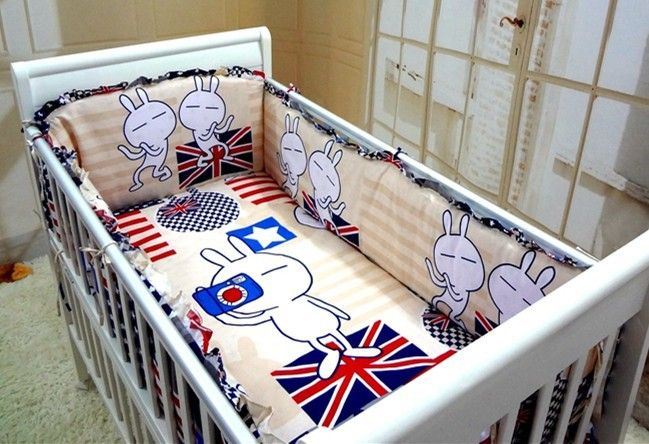 Promotion! 6PCS Baby crib bedding set 100% cotton cot bumper bedclothes (bumpers+sheet+pillow cover)