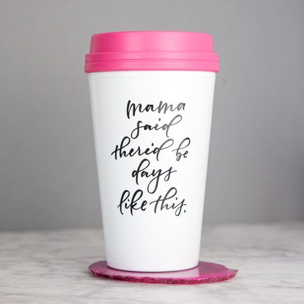 This is our go-to travel mug for your morning caffeine fix. Made with sturdy, biodegradable plastic and features a bright pink spill-proof open/close lid. Printed with a beautiful handwritten calligra