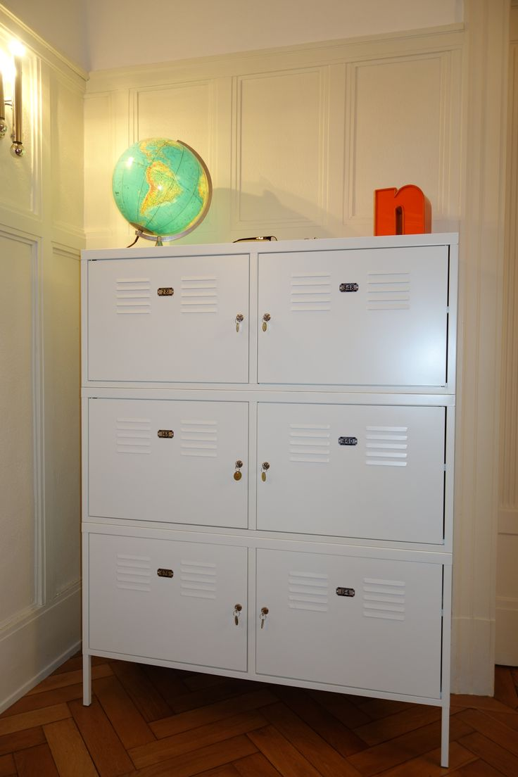 IKEA Hack - Triple height IKEA PS cabinet with vintage metal number tags - ideal for shoes