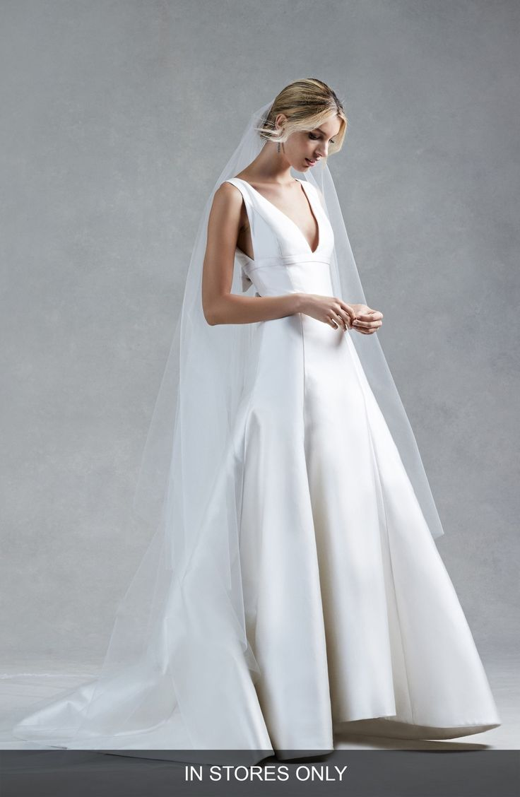 Free shipping and returns on Oscar de la Renta Hope V-Neck Silk Mikado Trumpet Gown (In Stores Only) at Nordstrom.com. This wedding gown can't be purchased online but is available for special order in our in-store Wedding Suites. Special orders ship within 8-16 weeks. Please call 1.888.300.1295 to find a Wedding Suite near you or Book an appointment online.A sleek gown made of substantial silk mikado frames your assets with flattering double V-necklines and accentuates your waist with a p...
