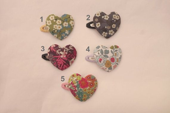 Heart Hair Clips with Liberty of london by NABISTYLE on Etsy, $8.00