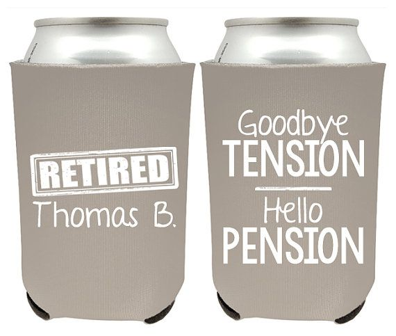Retirement Can Coolers - Goodbye Tension Hello Pension Retirement Beer Huggies for Retirement Party - Retirement Party Favors - Beer Coolers   How To Order:  ► Select your Quantity ► Select your Can Coolers Color - If you wish to split the colors, please select any 1 color at checkout, and in the note section mention all the Can Coolers colors and the quantities. - You can have more than 1 Can Coolers color, but only 1 ink color. Please make sure ink color will look good on ALL the Can…