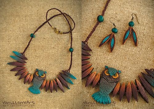 Lovely Owl Necklace by VaniLlama Art