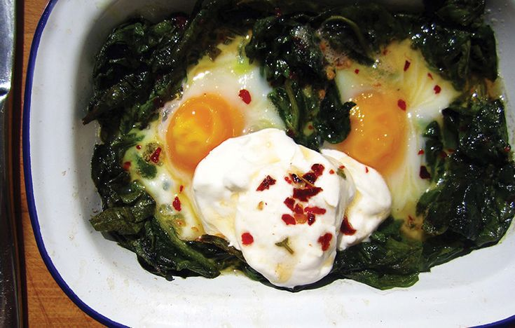 Anna Hedworth's baked eggs with wild garlic and chilli and sage butter. Follow link for full recipe from appetite, North East England's dedicated food & drink publication.