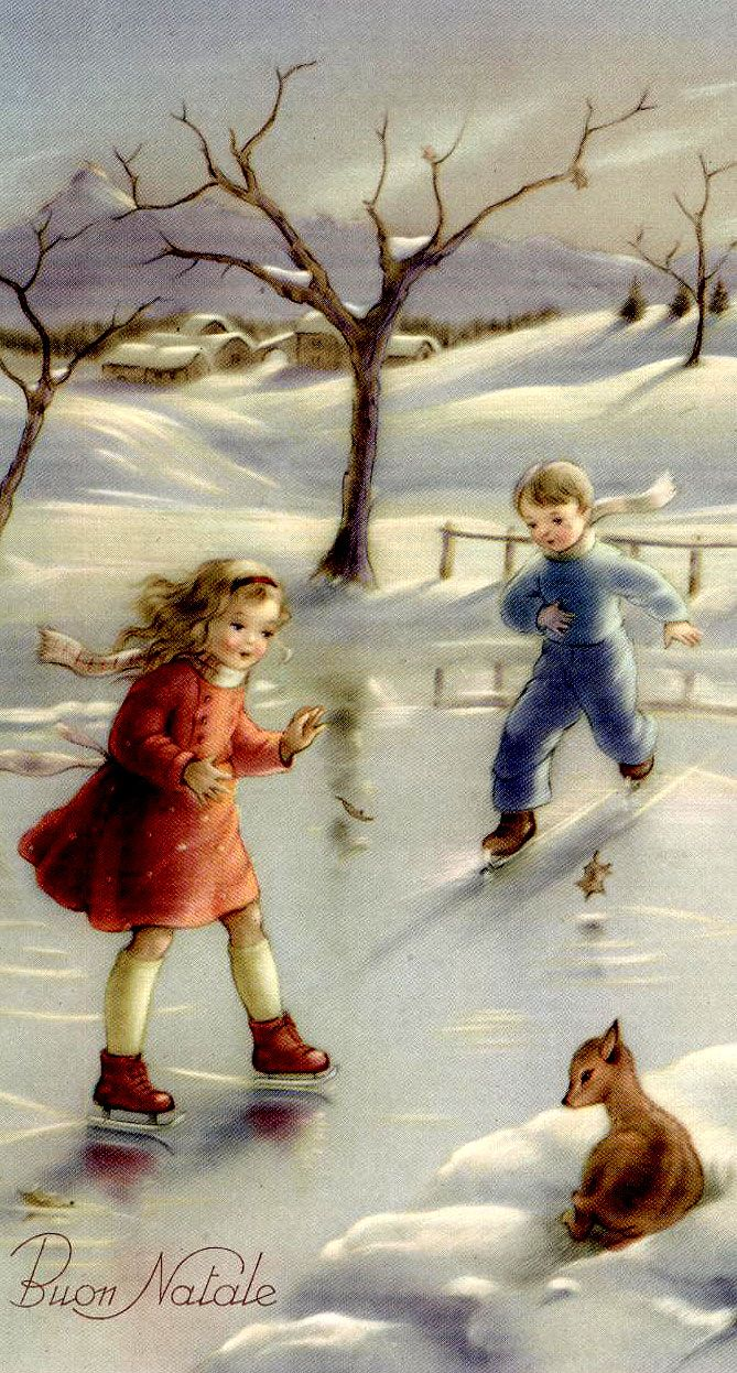 Christmas skaters   Reminds me of Tasha Tudor's illustrations.