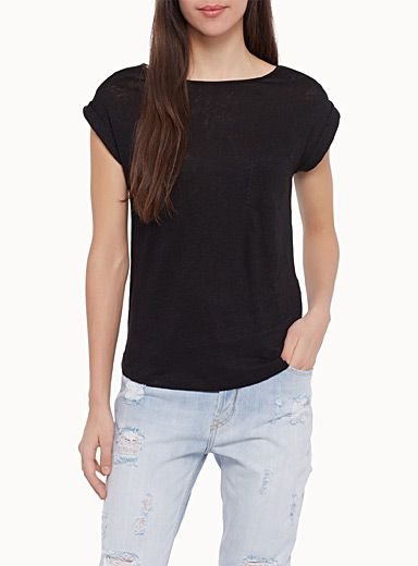 Simons, $38.00 Style: 7023-12222, Exclusively from Icône     A quintessentially soft and ultra light natural fibre   Irregular, textured jersey   Casual, straight style   Sleeves with sewn cuffs   Rounded hem    The model is wearing size small