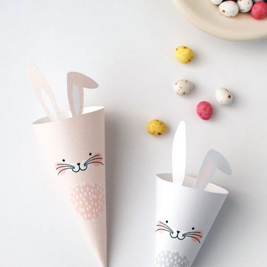The cutest way to give Easter treats! Free printables to make Easter Bunny treat cones.